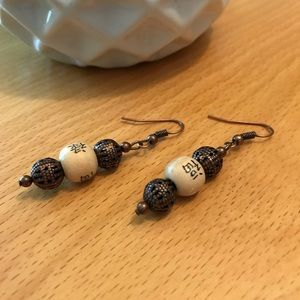 Jewelry - Wooden and Metal Beaded Earrings